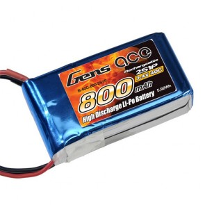 B-40C-800-2S1P Gens ace 800mAh 7.4V 40C 2S1P Lipo  Battery Pack